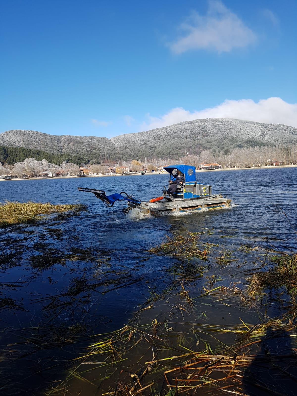 Gölcük Gölü'ndeki Sazlıklar Temizleniyor