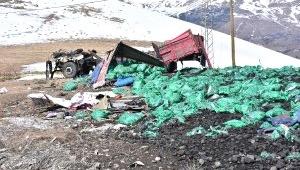 Ardahan Kömür Yüklü Kamyon Şarampole Uçtu, 1 Ölü, 1 Yaralı