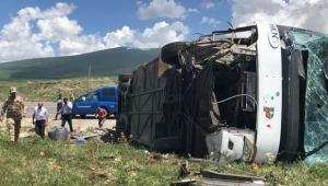 Ardahan'da yolcu otobüsü devrildi: 1'i ağır 6 yaralı