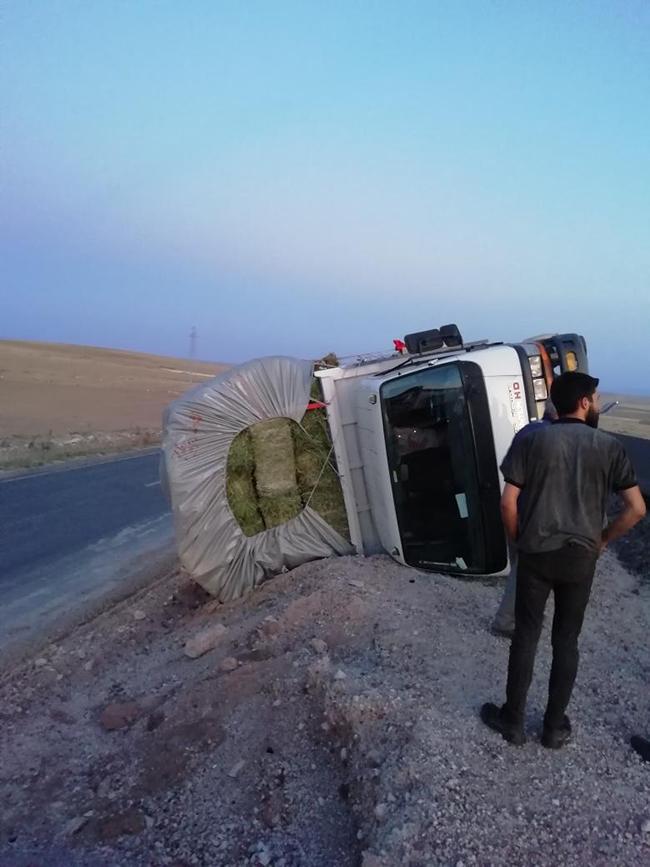 Ot yüklü kamyonet kaza yaptı