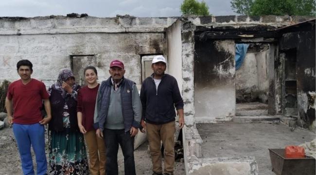 Ardahan'da evi yanan aile ortada kaldı