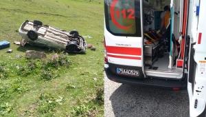 Ardahan'ın Çıldır yolunda araba takla attı 1 ağır 4 yaralı