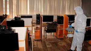 Ödemiş'te internet kafeler ve oyun salonları dezenfekte ediliyor